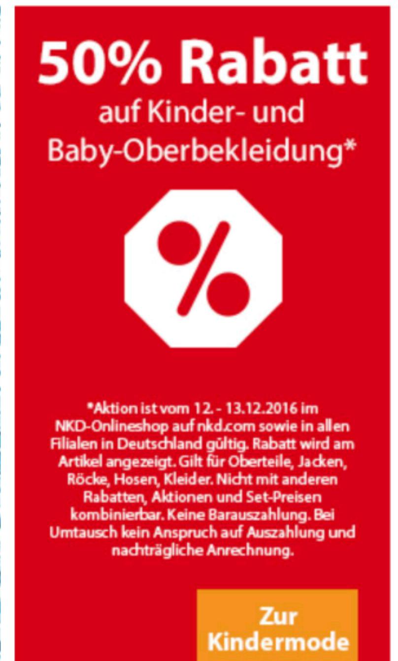 NKD 50% Rabatt auf Kinder- & Babybekleidung
