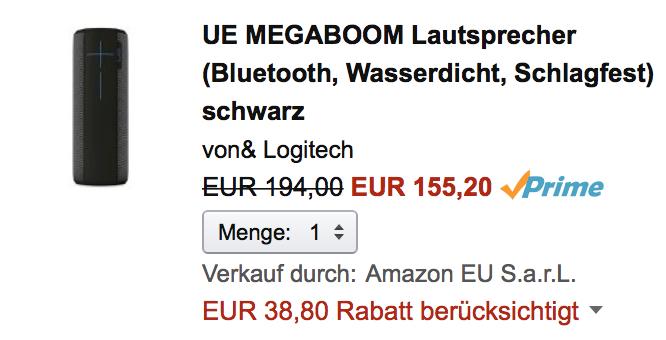 [Amazon Student] 20 % Sofortrabatt Logitech UE, z.B. Megaboom für 155 Euro statt 179 Euro