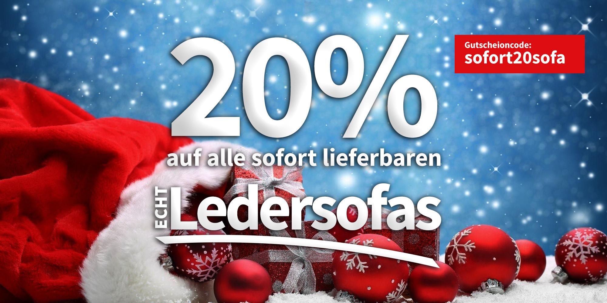 20% Gutschein auf alle Echtleder Sofas bei Moebella24