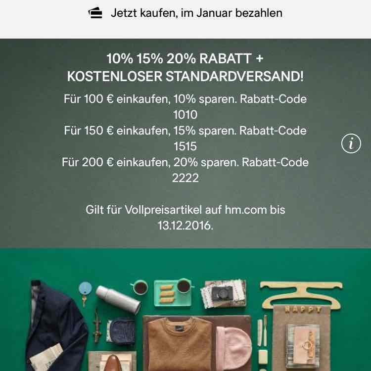 h&m bis zu 20% Rabatt + kostenloser Versand