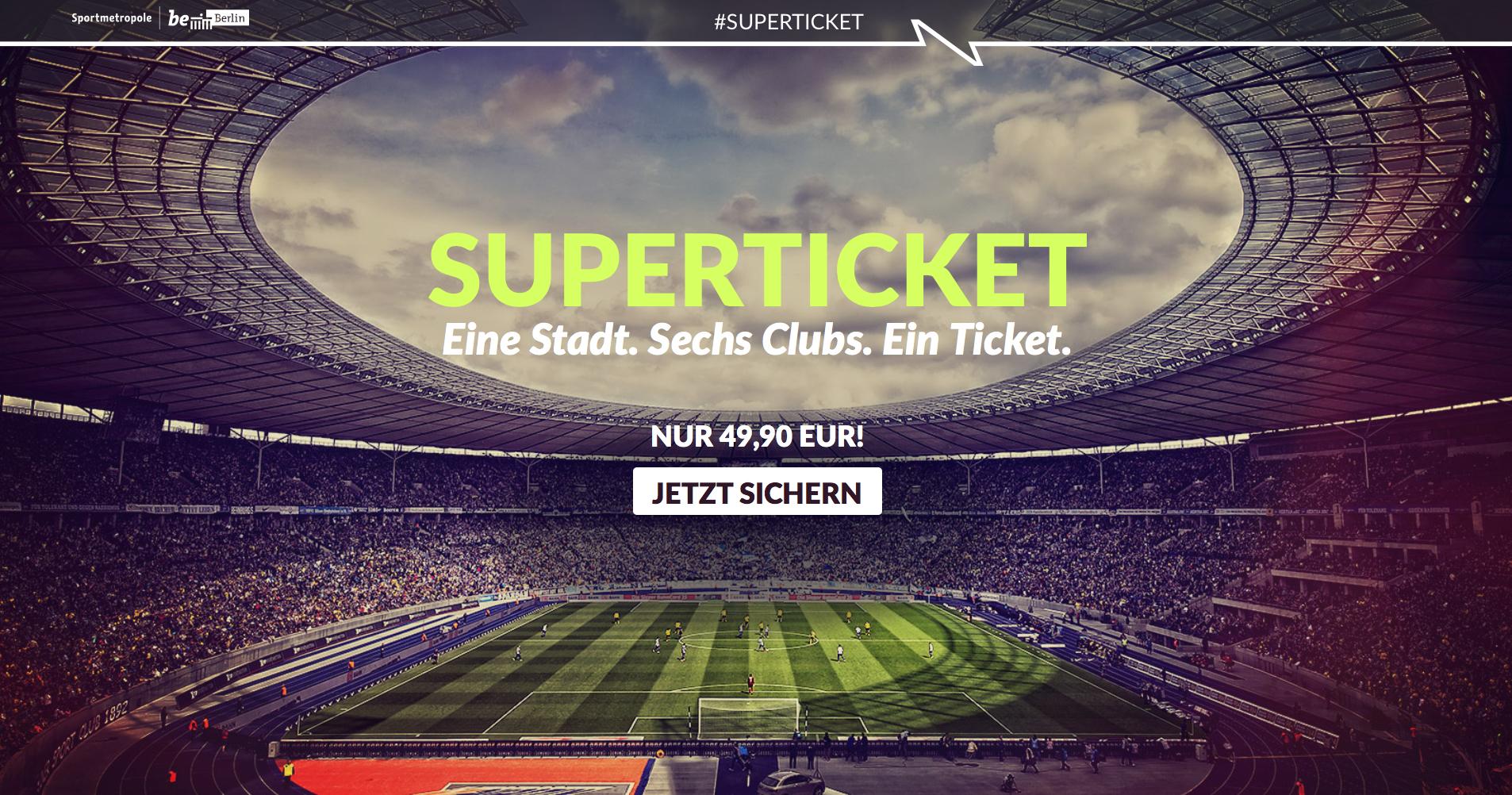 Berlin Superticket - ein Ticket für Alba Berlin, BR Volleys, Eisbären Berlin, Füchse Berlin, Hertha BSC und Union Berlin für 49,90€
