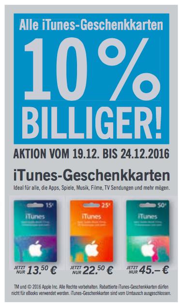 10% Rabatt auf iTunes-Geschenkkarten bei Lidl