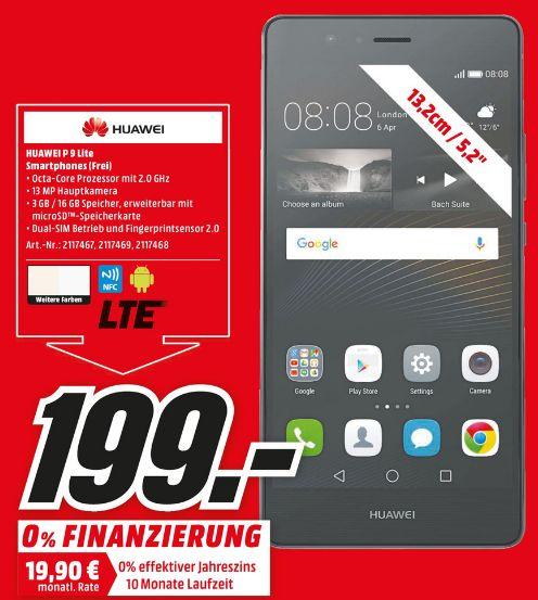 """[Lokal Mediamarkt Braunschweig und Salzgitter]Huawei P9 lite schwarz. 3GB Ram, (5,2"""") FHD Display, Android 6.0, 2.0GHz Octa-Core, 13MP Kamera, Dual-SIM für 199,-€"""