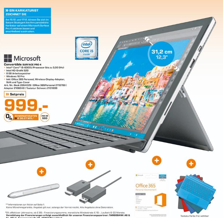 [Stuttgart Saturn]Surface Pro 4 i5 6300U, 8GB RAM, 256 GB SSD mit Type Cover, Wireless Display Adapter & Office 365 Personal