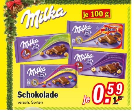 Milka Schokolade verschiedene Sorten 0,59€  bei Zimmermann Sonderposten