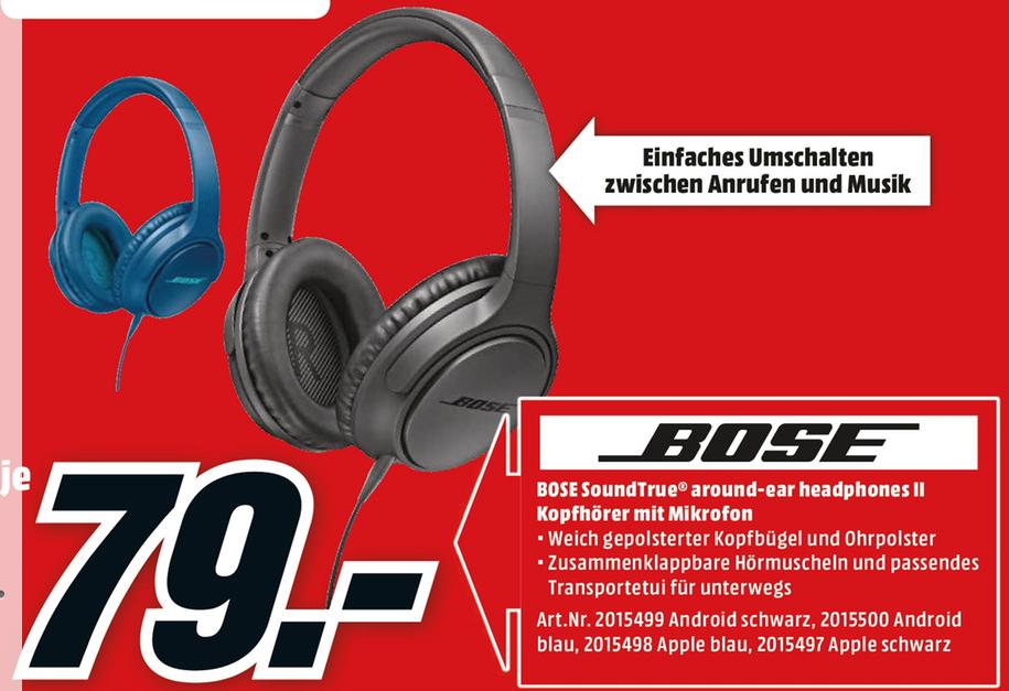 ( Lokal Media Markt Karlsruhe ) Bose SoundTrue Around-Ear II für nur 79€ statt 178€
