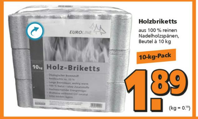 [Globus Baumarkt] Holzbriketts, 10 kg, Nadelholzspäne