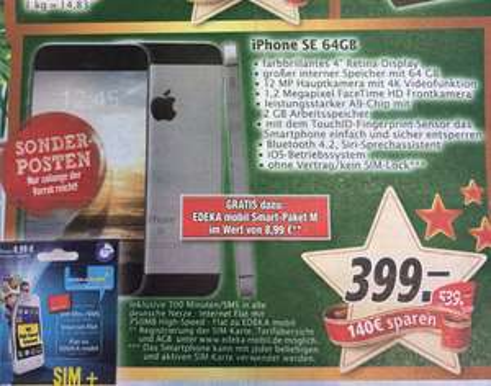 Apple iPhone SE 64 GB - 399 EUR - Marktkauf national - ab 19.12.