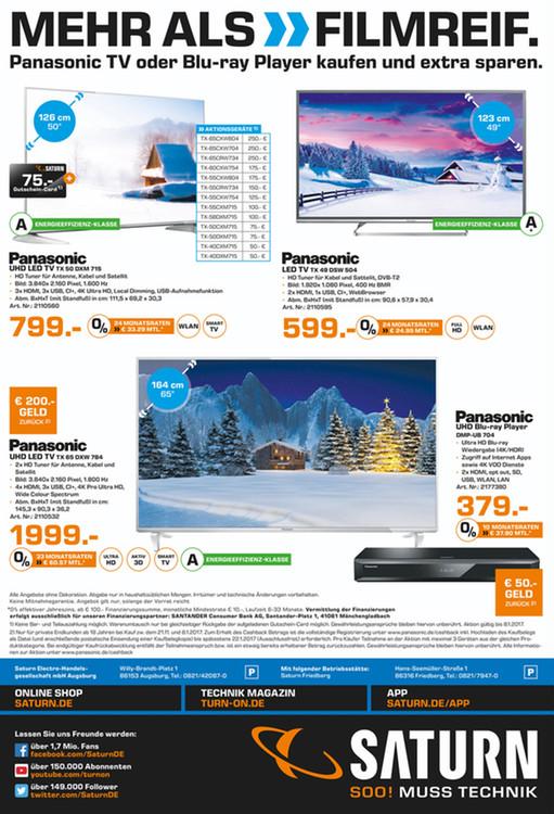 [SATURN, lokal Friedberg und Augsburg] Panasonic 4K Ultra HD TX 50 DXM 715