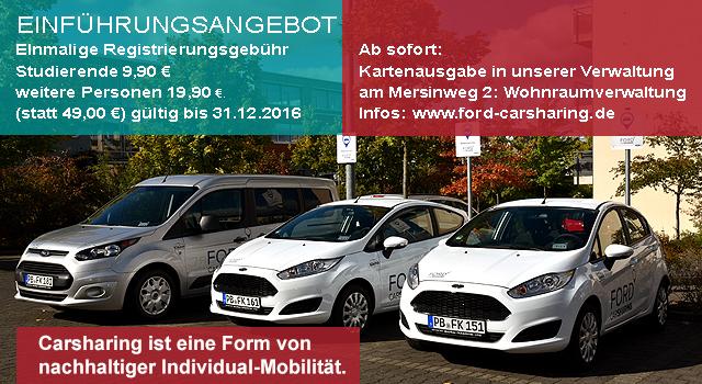 [Lokal - Uni Paderborn] Flinkster und Ford Carsharing Anmeldegebühr 9,90€ (Studenten) 19,90€ (alle weiteren) statt 49€