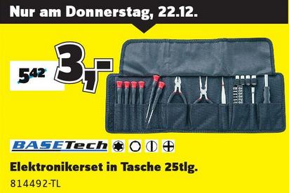 Basetech Elektronikerset in Tasche 25tlg. für 3€ bei Conrad Filialen am 22.12.
