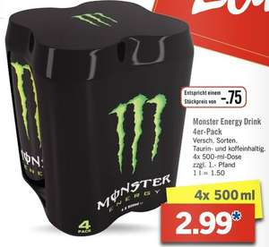 lidl monster energy drink 4er pack 0 75 pro 500ml dose. Black Bedroom Furniture Sets. Home Design Ideas