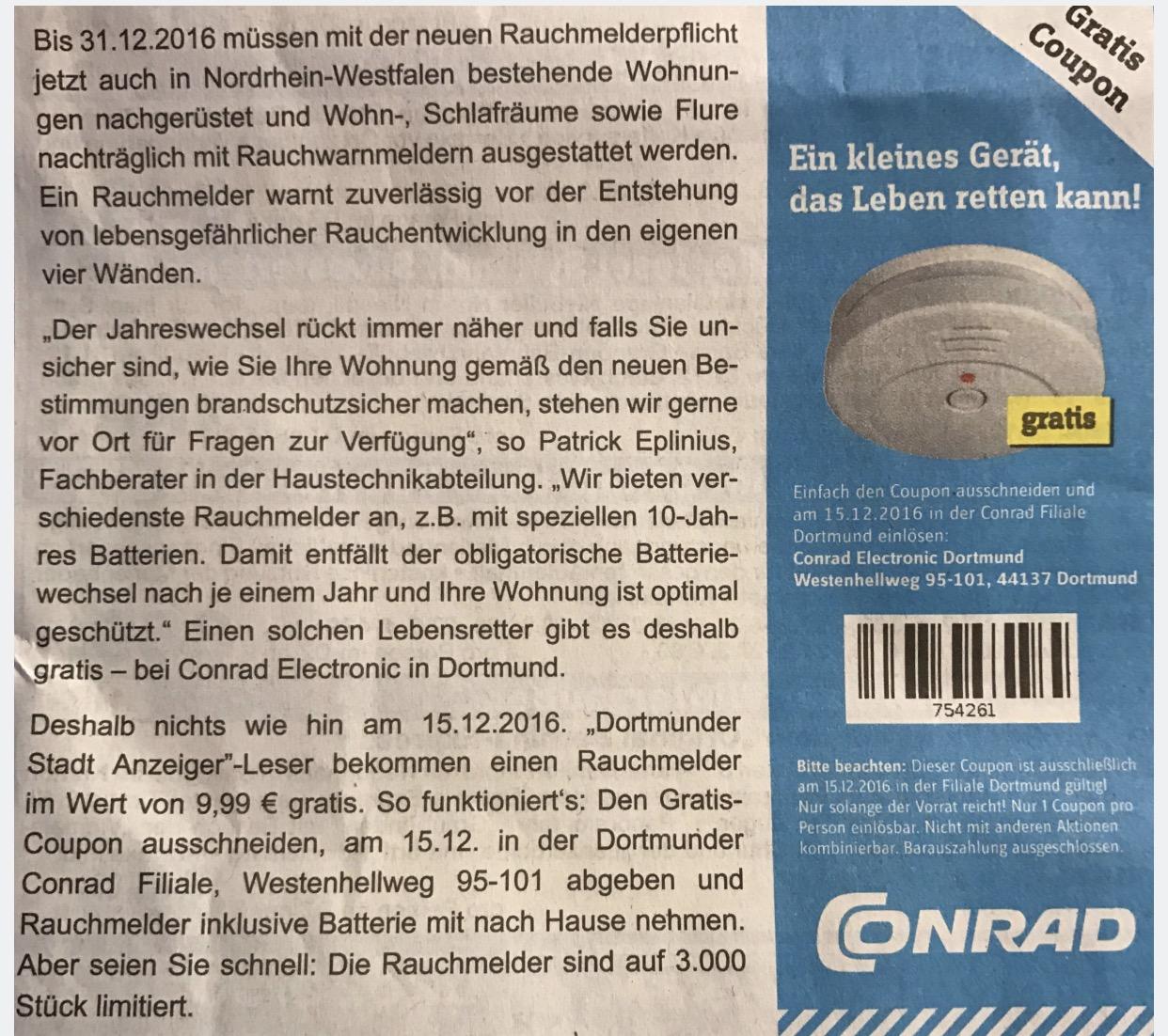 Lokal [Dortmund Conrad] Gratis Rauchmelder nur morgen gültig