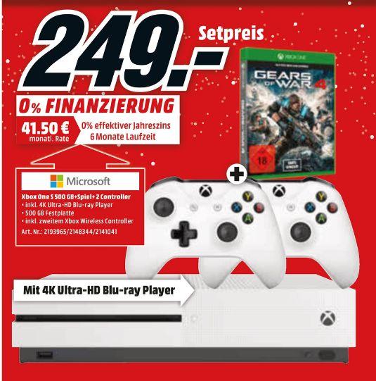 [Lokal Mediamärkte Berlin und Brandenburg]  Xbox One S 500GB Spielekonsole + Gears of War 4 + 2.ten Controller für 249,-€