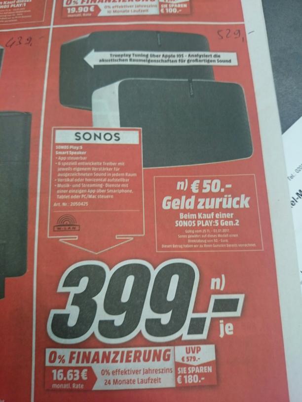 Lokal Essen MM: Sonos Play 5 s+w 2.Gen.