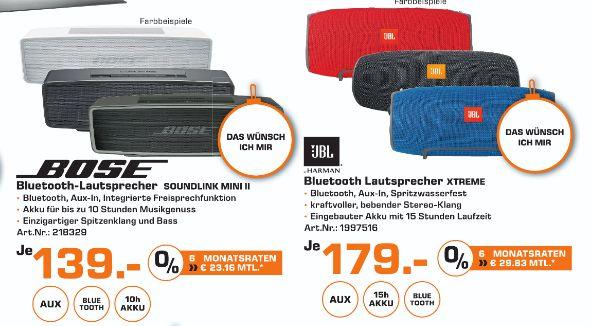 [Lokal Saturn Bremerhaven] JBL Xtreme Bluetooth Lautsprecher in Verschieden Farben für je 179,-€ und Bose SoundLink Mini II Bluetooth speaker in 3 Farben für je 139,-€ (+10,-€ Cashback)