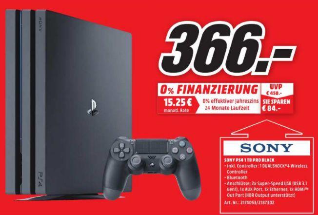 [Lokal Mediamärkte Rostock- Nur am 17.12 von 08.00 - 12.00 Uhr] Sony PlayStation 4 Pro 1TB, Spielkonsole schwarz für 366,-€