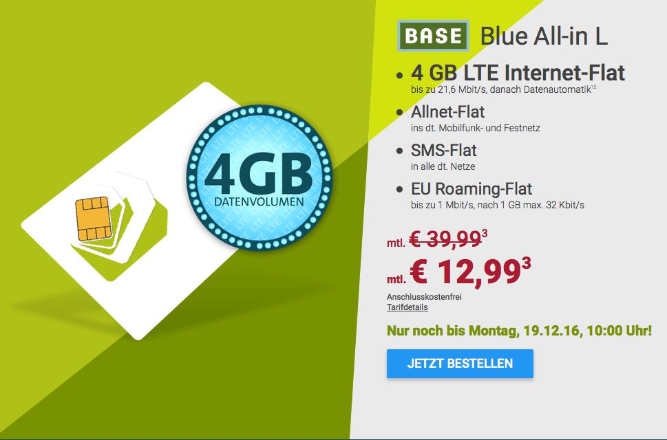 [sparhandy] BASE Allnet/SMS-Flat mit 4 GB LTE und 1 GB EU-Roaming für 12,99 € pro Monat