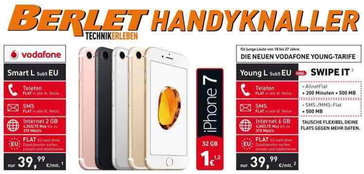 bei Berlet: iPhone 7 im Vodafone Young L für 1€ mit 6GB Datenvolumen
