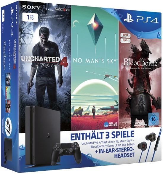 PlayStation 4 1TB Slim Konsole + No Man's Sky + Bloodborne + Uncharted 4 + In-Ear-Headset für 299,99€ (Gamestop)