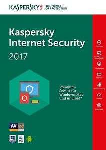Kaspersky Internet Security 2017 - Lizenz für 3 Geräte/1 Jahr - Win/Mac/Android Antivirus Download