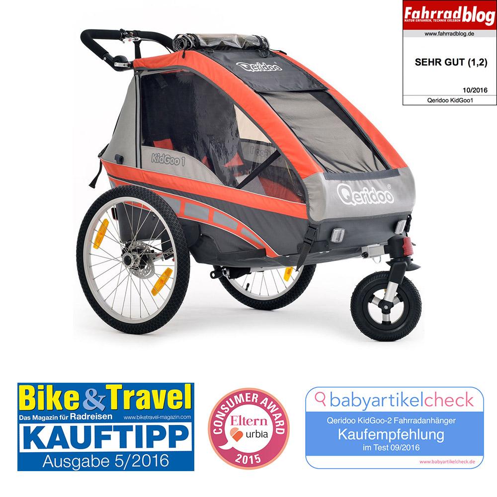 [Hitmeister] Fahrradanhänger Qeridoo KidGoo-1 für 294,66€ statt Idealo 439€ KidGoo-2 für 308,94€ statt 461,18€