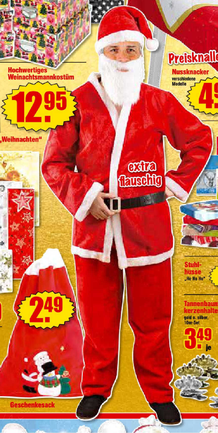 Jetzt schon an Weihnachten denken. Weihnachtsmannkostüm für 12,95€ bei Krümet
