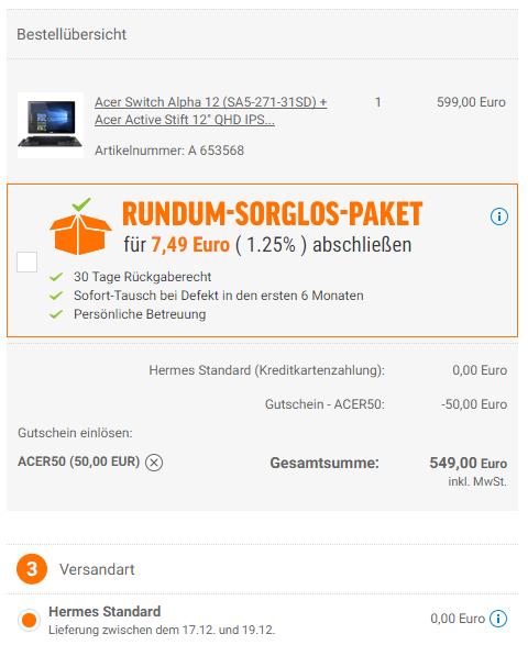 """Acer Switch Alpha 12 - Core i3-6100U 4GB RAM 128GB SSD Win 10 QHD IPS (SA5-271-31SD) + Acer Active Stift 12"""" QHD IPS Convertible > Günstige Surface Alternative ohne Lüfter [@notebooksbilliger.de mit 0% Finanzierung]"""