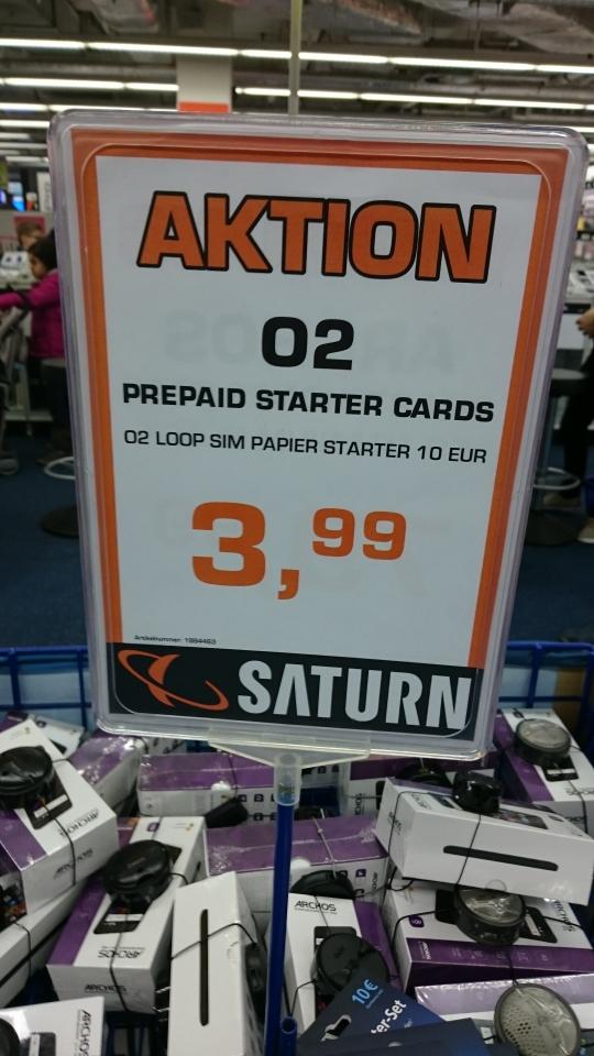 O2 LOOP Prepaid mit 10€ Guthaben bei Saturn Lüdenscheid in Stern Center