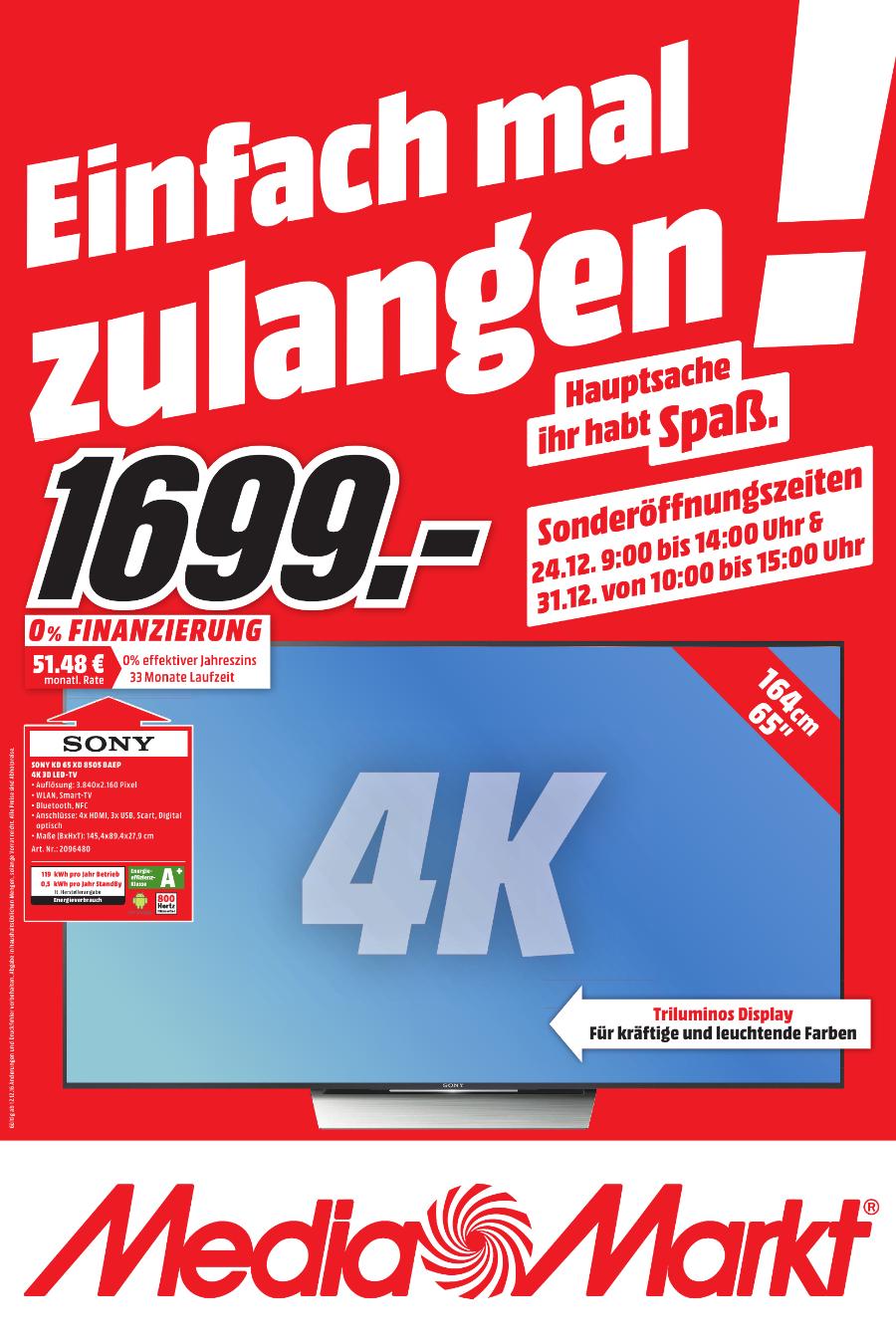 Genialer SONY KD 65XD 8505 BAEP 4K 65 Zoll Fernseher zum unschlagbaren Preis nur im Media Markt Gütersloh