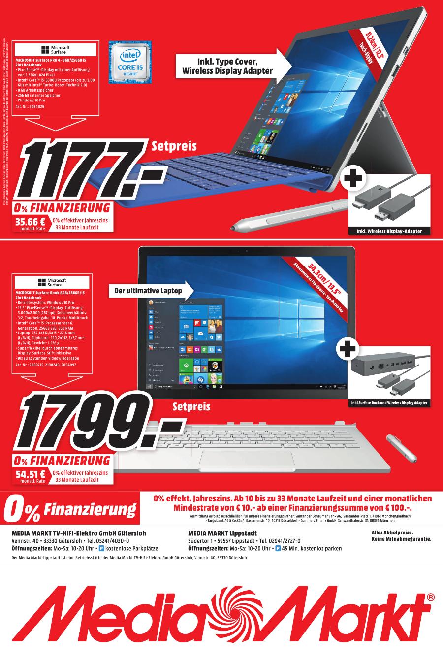 LOKAL Surface Pro 4 mit i5 Prozessor, 8 GB RAM und 256 GB SSD inklusive Typ Cover und Wireless Display Adapter Aktion zum Hammer Preis im Media Markt Gütersloh