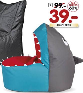 260l Shark-Sitzsack für nur 39€ wieder erhältlich bei Segmüller, diesmal auch ohne Coupon!