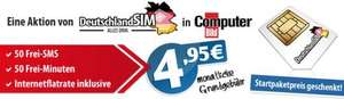 DeutschlandSIM: 50 Min & 50SMS & 200MB UMTS Flat für 4,95€/Monat und ohne Anschlussgebühr über Computerblöd, (evtl nicht mehr Verfügbar!). Sonst O2/6,95€/Monat oder D2 7,95€/Monat jeweils(?) mit neuer Auslandsoption!!! (Email Benachrichtung von heute