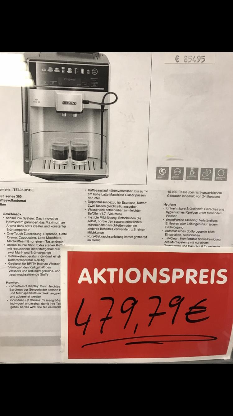 SIEMENS TE613501DE / KAFFEEVOLLAUTOMAT / EQ.6 SERIES 300 Lokal München Für Uns Shop
