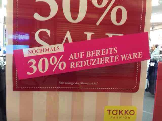 Takko - 30% auf reduzierte Ware