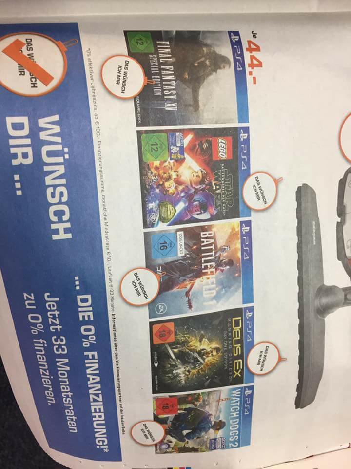 [Lokal Saturn Hilden] PS4 Final Fantasy 15, Battlefield 1, Watchdogs 2  für nur 44€ PlayStation 4