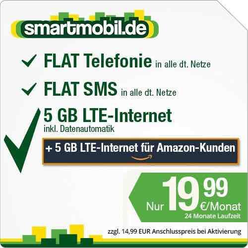 Amazon: smartmobil.de: 10 GB LTE bis 50 MBit/s | Telefonie Flat | SMS Flat | 19,99€/Monat