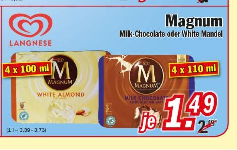 [Zimmermann] Langnese Magnum Milk-Choclate oder White Mandel für 1,49€