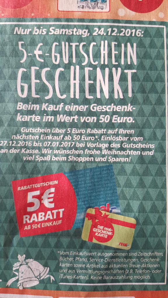 [real,-] 5 € Gutschein geschenkt beim Kauf von Geschenkkarte