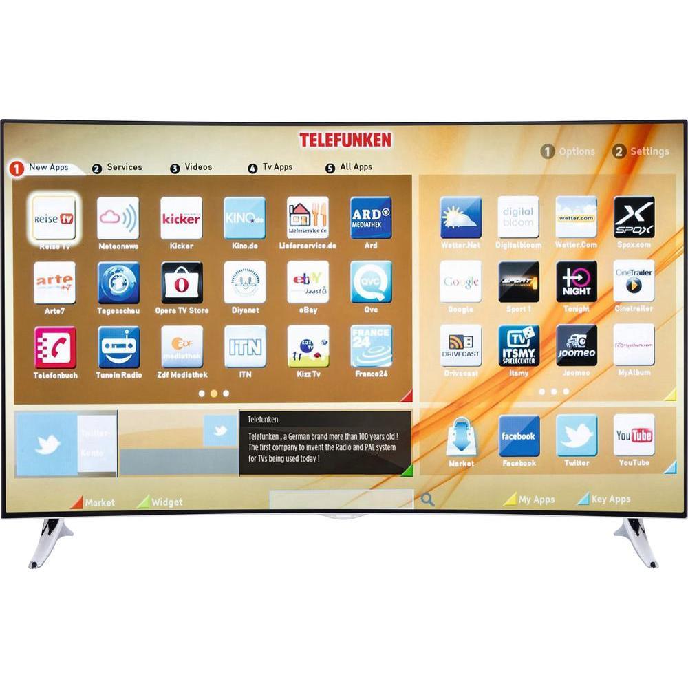 [Conrad] LED-TV 140 cm 55 Zoll Telefunken C55U320A4CW-3D EEK A+ DVB-T2, DVB-C, DVB-S, UHD, Curved, 3D, Smart TV, WLAN, CI+ Schwarz