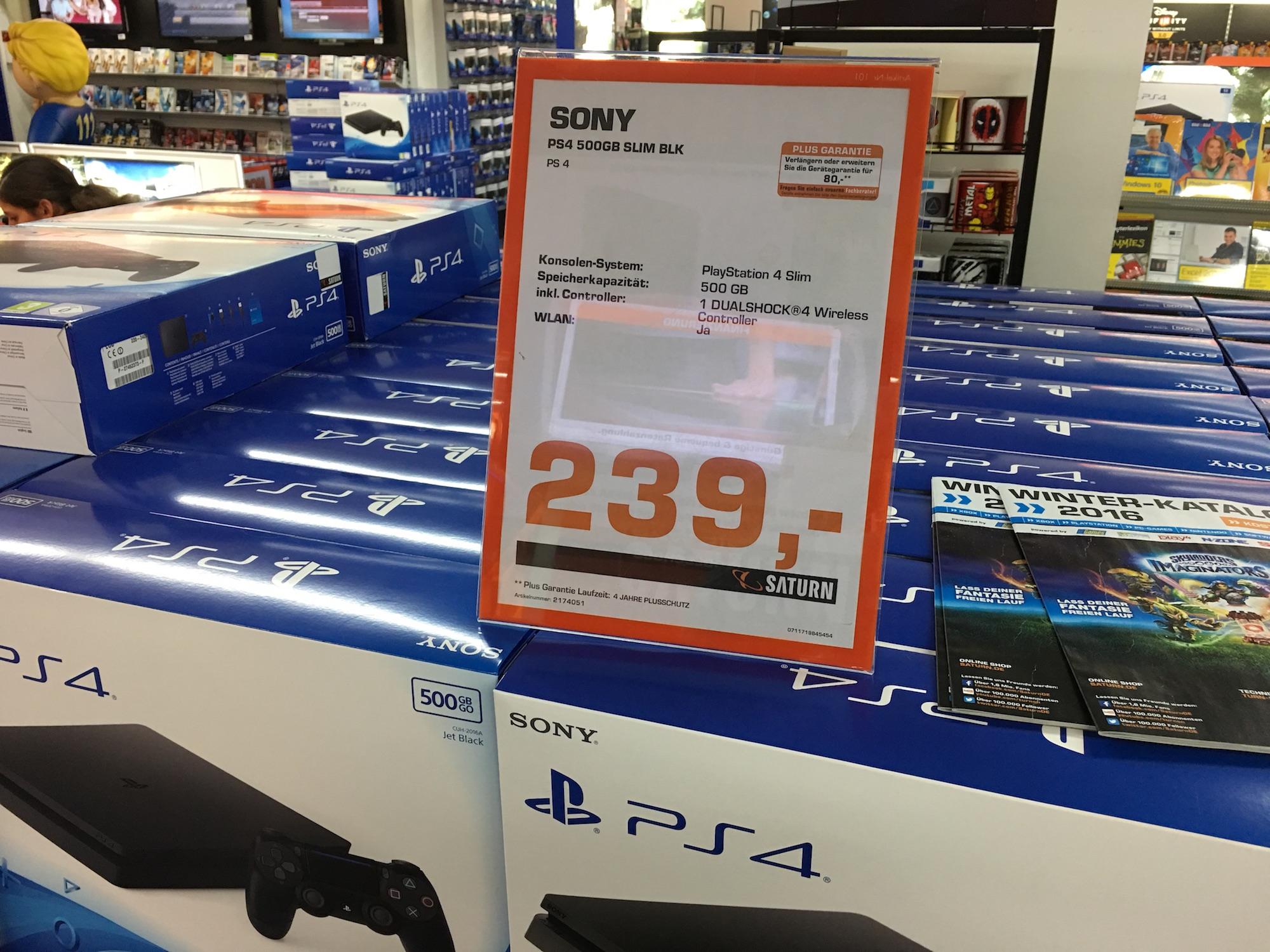 [LOKAL Saturn Köln Hansaring] Sony Playstation 4 Slim 500GB für 239€