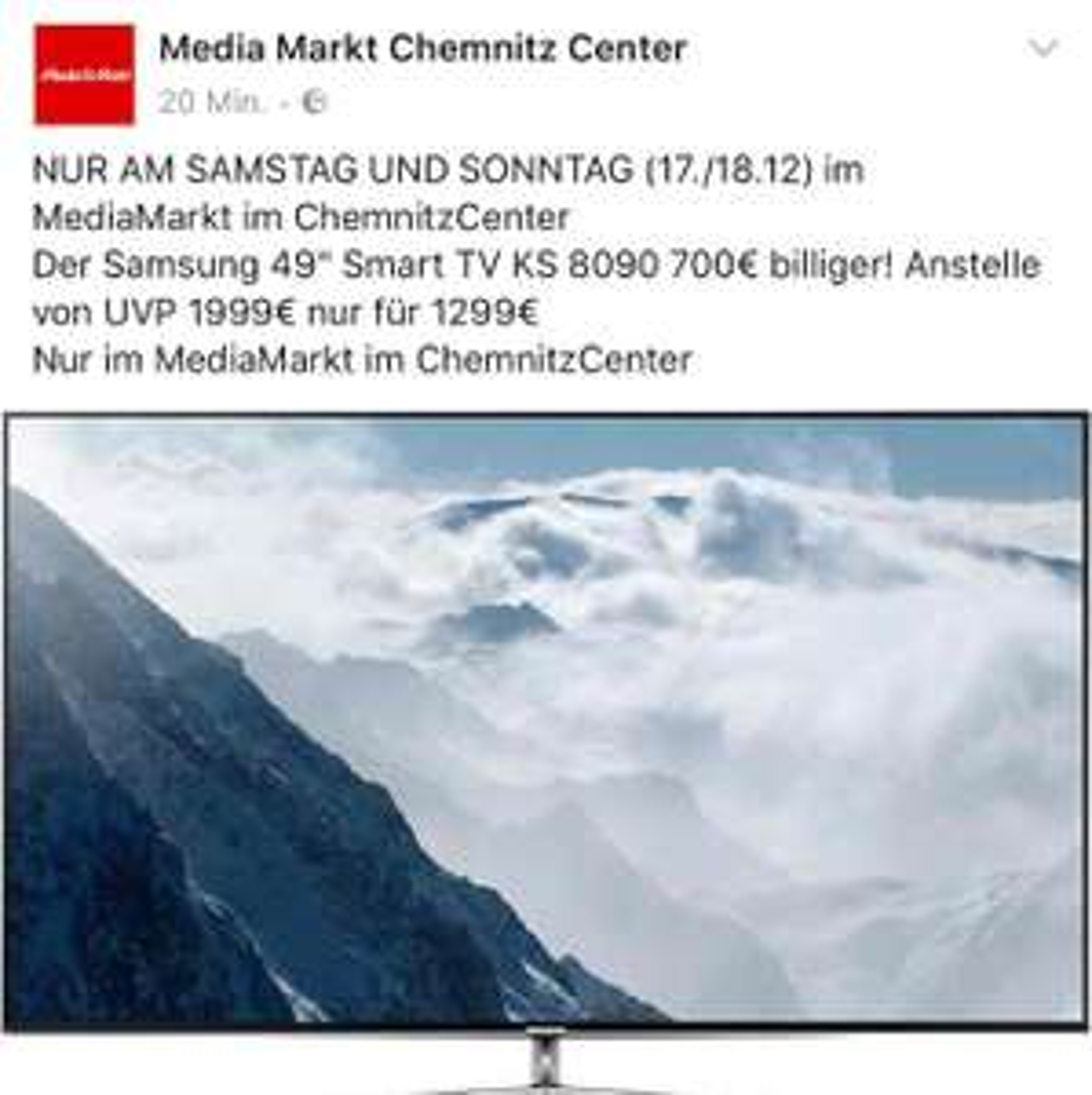 Samsung UE49KS8090 für 1299 Euro WOW MediaMarkt Chemnitz Center