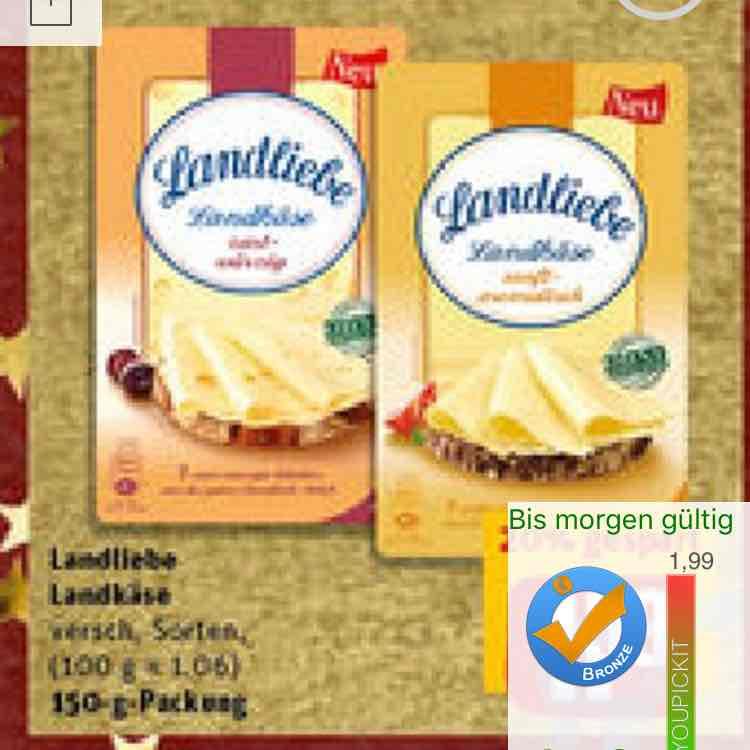 Rewe - Landliebe Landkäse für 0,59€ ( Angebot + Scondoo )