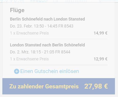 Rynair: Berlin-Schönefeld - London Stansted (Hin/Zurück) zu humanen Zeiten im Februar