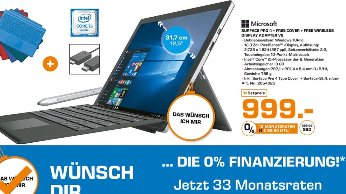 LOKAL Berlin Saturn Surface Pro 4 i5, 8 GB RAM, 256 GB SSD inklusive Typ Cover, 1 Jahr Office 365 und Wireless Display Adapter