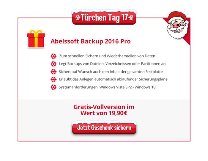 Heise Adventskalender: Abelssoft Backup 2016 Pro
