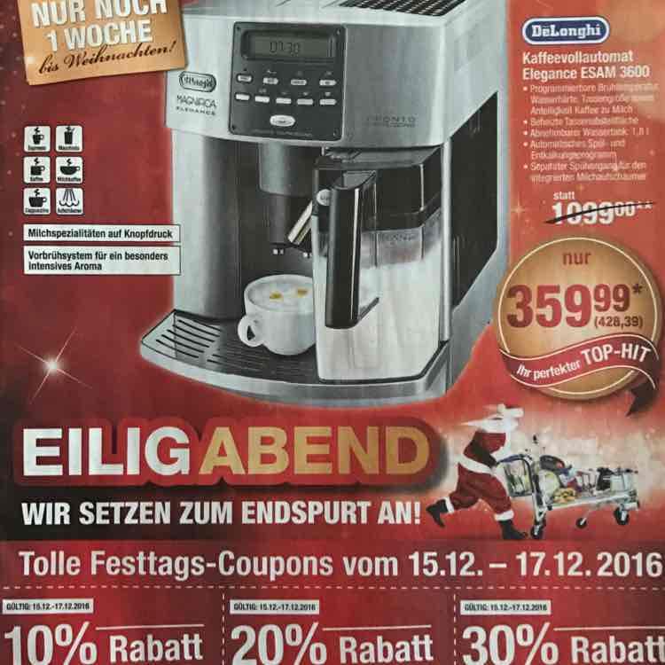 [Metro] Kaffeevollautomat De Longhi Elegance ESAM 3600 für 428,39 EUR