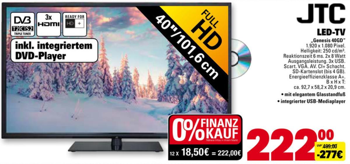 """[Marktkauf] JTC 40"""" Full-HD TV mit DVD Player"""
