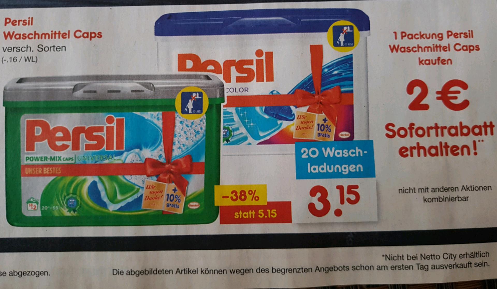 Persil Waschmittel Caps 20 WL für 1,15€ bei Netto MD (ab 19.12.)