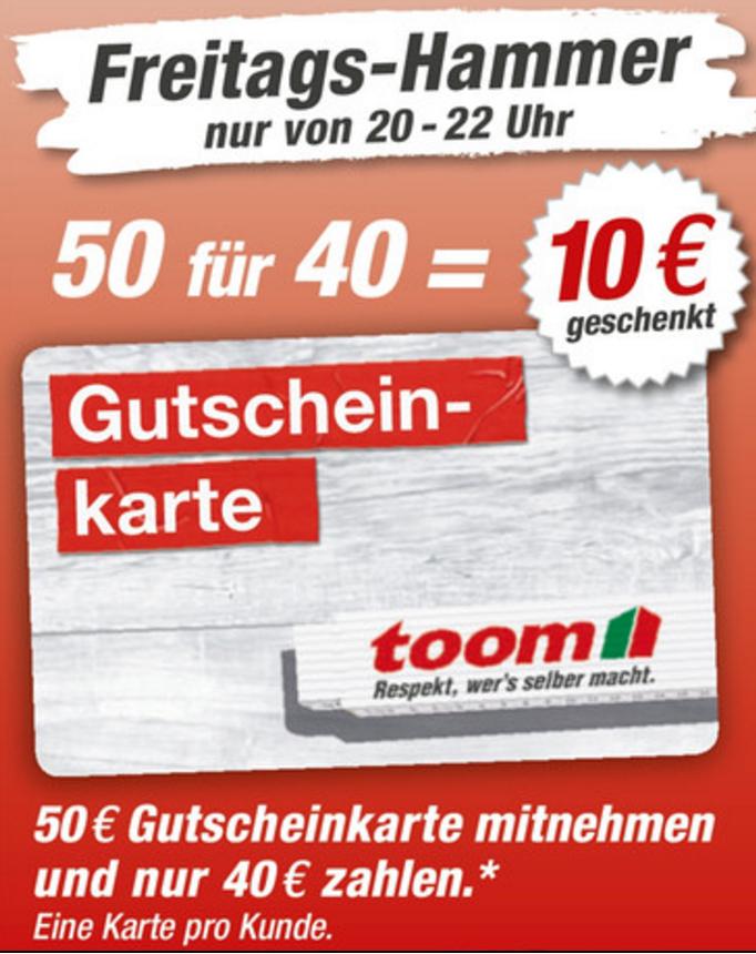 [Toom offline] 50€ Gutschein für 40€ am 23.12., dadurch sehr gute Schnapper möglich